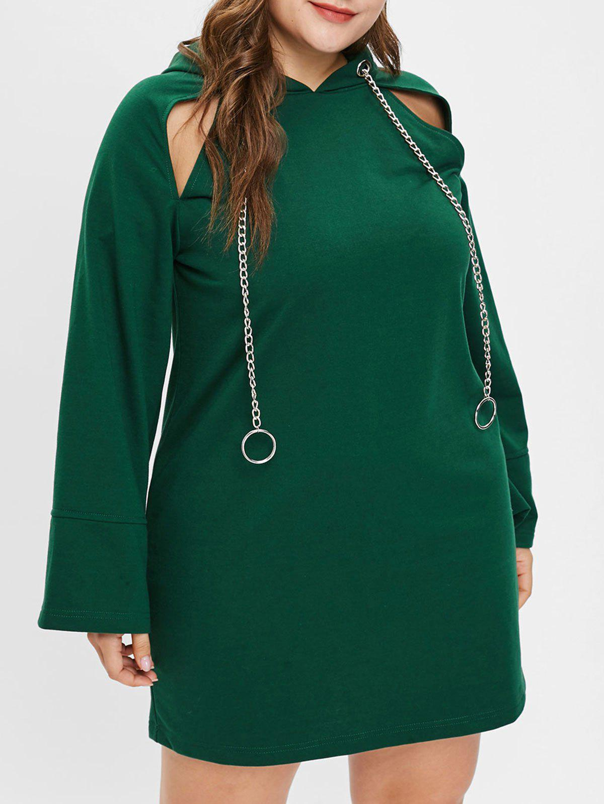 Plus Size Metal Rings Raglan Sleeve Dress - DEEP GREEN L