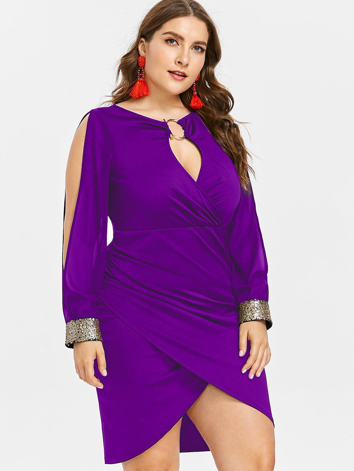 Slit Sleeve Plus Size Sequin Embellished Bodycon Dress