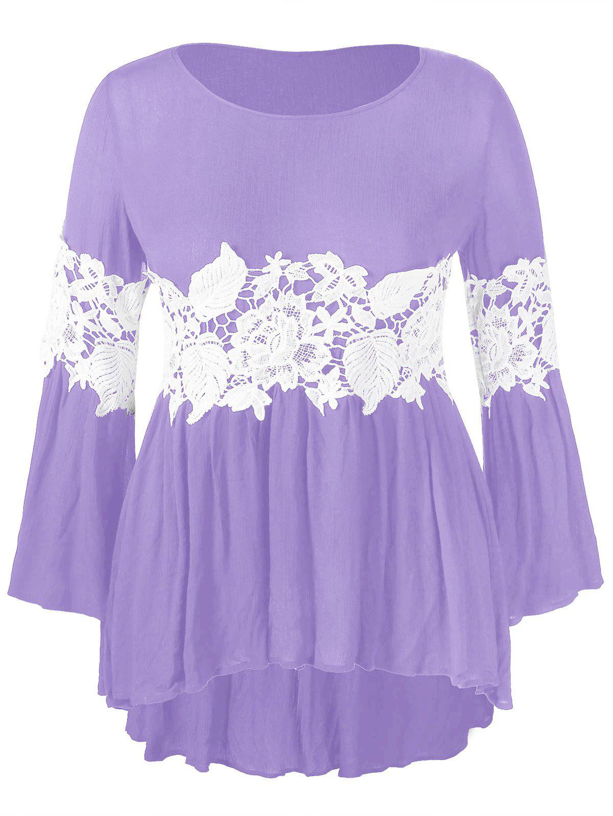 Plus Size High Low Tee with Lace Panel - MAUVE L