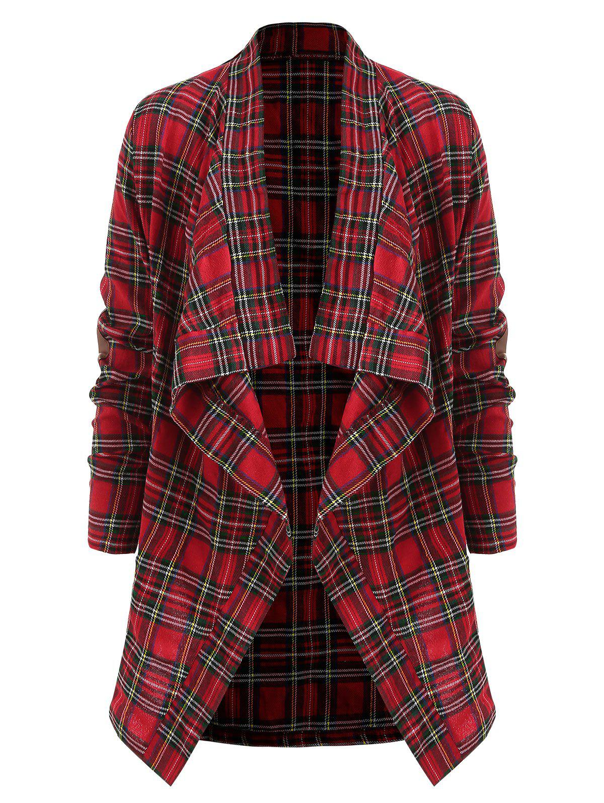 Elbow Patch Waterfall Plaid Shirt - RED M
