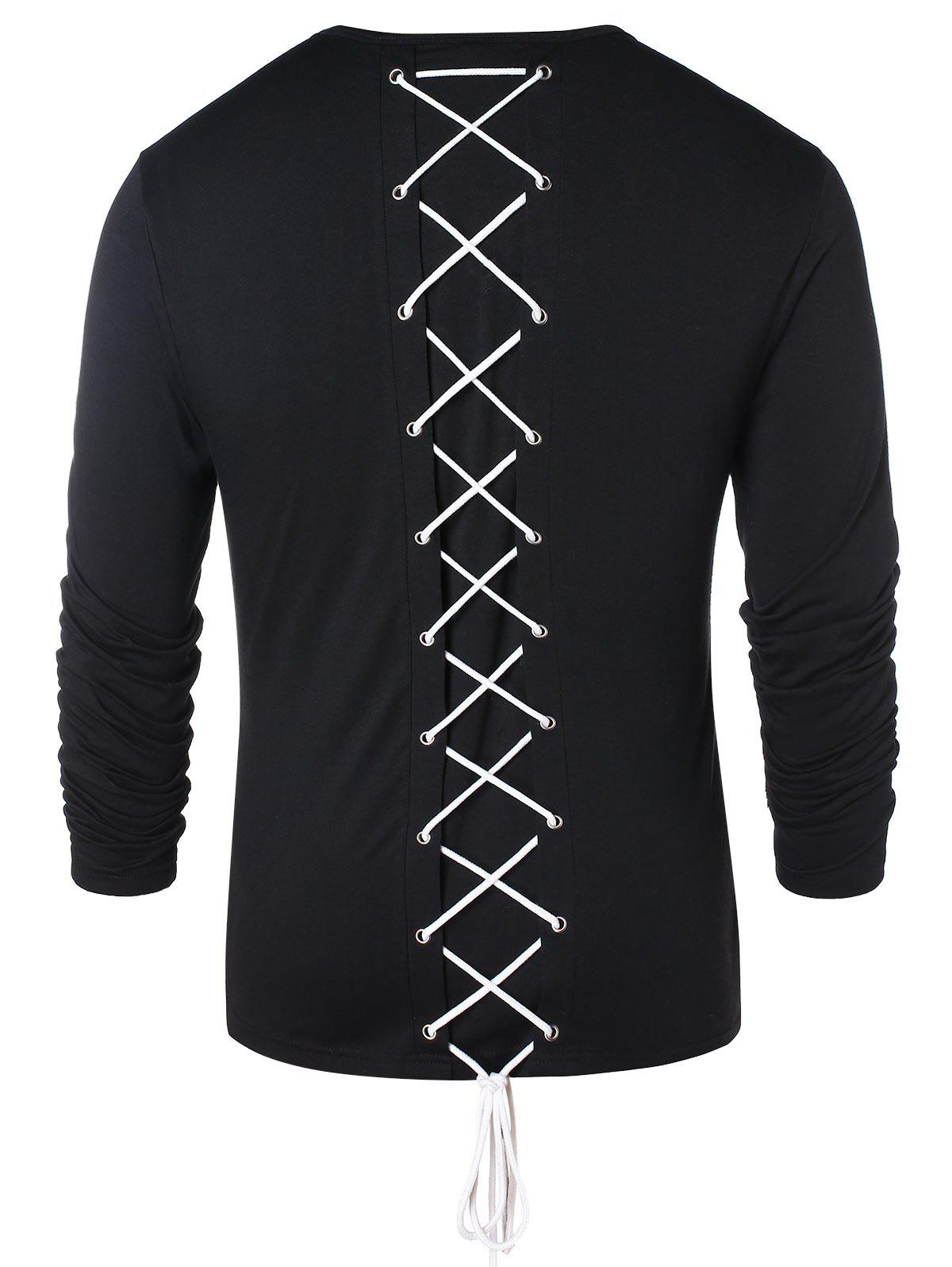 Long Sleeve Lace Up Casual T-shirt - BLACK 2XL