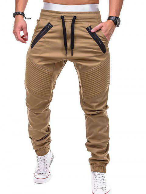 Stitch Zipper Embellished Casual Jogger Pants - CAMEL BROWN M