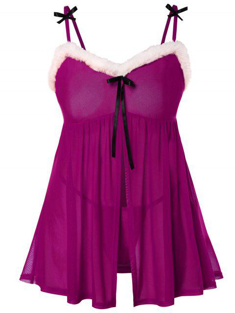Plus Size Christmas Bowknot Embellished Babydoll - PURPLE L