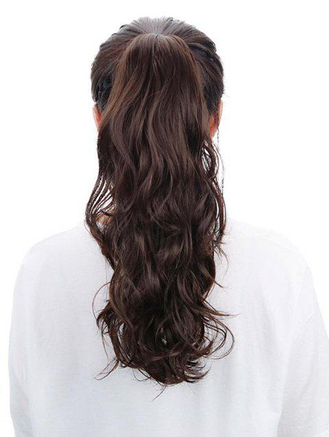 Long Wavy Synthetic Hair Extension Ponytail - DEEP BROWN