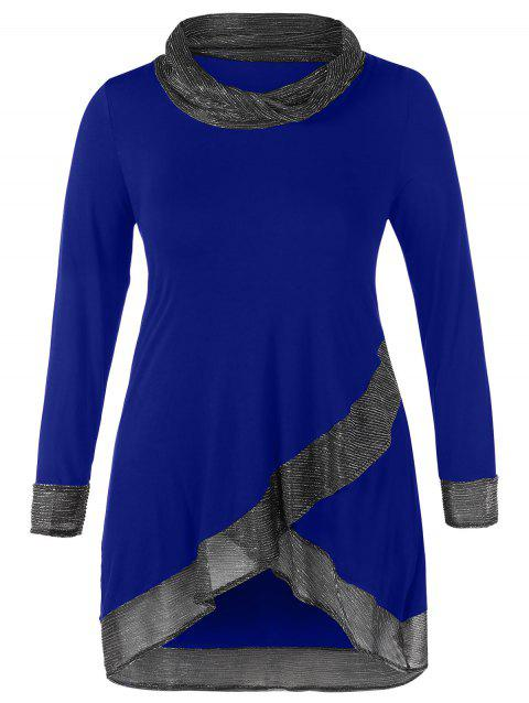Cowl Neck Metallic Thread Panel Plus Size Top - COBALT BLUE 4X