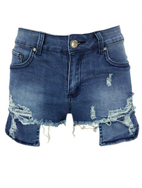 Asymmetric Ripped High Waist Denim Shorts - DENIM DARK BLUE XL