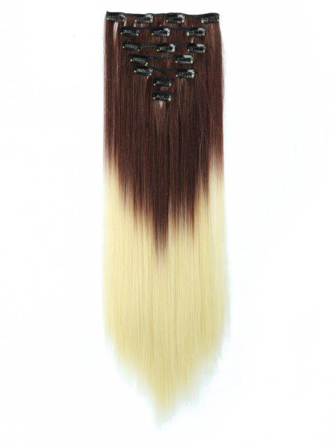 Long Ombre Straight Clip In Hair Pieces - multicolor A