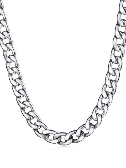Simple Design Stainless Steel Chain Necklace - SILVER