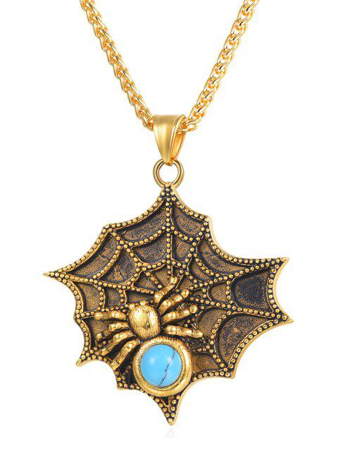 Faux Turquoise Decor Spider Web Necklace - GOLD