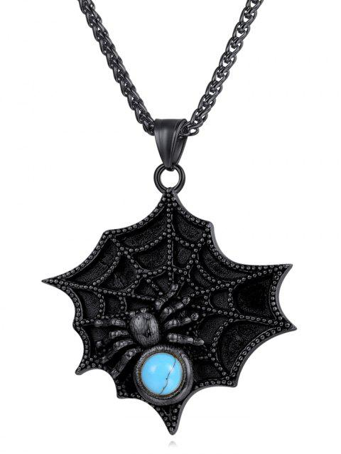 Faux Turquoise Decor Spider Web Necklace - BLACK
