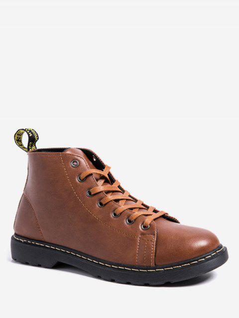Classic Lace Up Ankle Boots - BROWN EU 43
