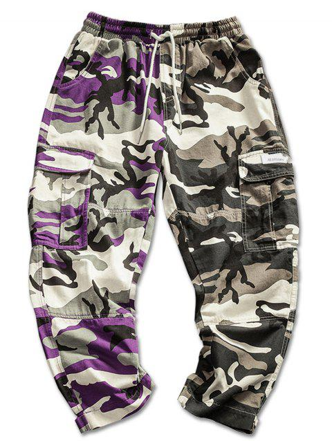 Contrast Color Camo Print Cargo Pants - CAMOUFLAGE GREEN XL