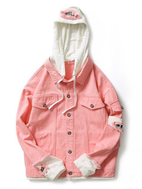 Letter Number Applique Embellished Distressed Hooded Jacket - LIGHT PINK L