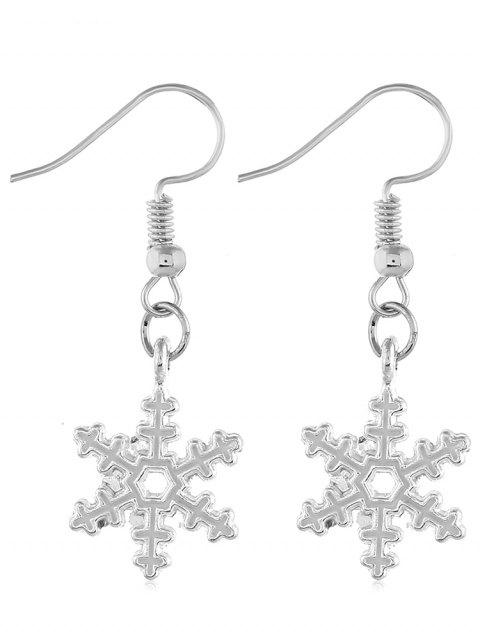 Christmas Snowflake Design Earrings - SILVER