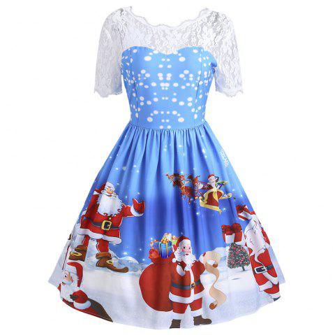 Vintage Christmas Santa Claus Print Lace Insert Dress - BLUE S