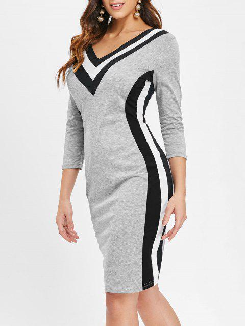 Long Sleeve Striped Bodycon Dress - GRAY XL