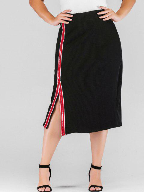 Plus Size Sequins Slit Skirt with Ribbons - BLACK 1X