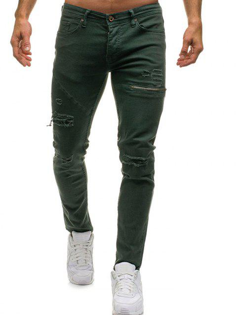 Zipper Destroy Wash Ripped Jeans - ARMY GREEN L