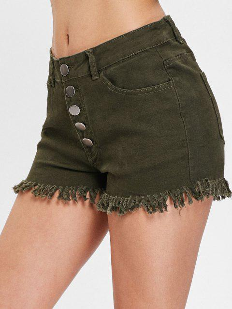 High Waist Cuff Off Denim Shorts - GREEN S