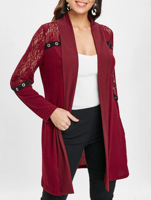 Longline Lace Panel Cardigan - RED WINE M