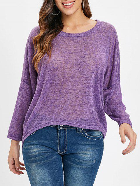 Drop Shoulder High Low Knitwear - PURPLE L