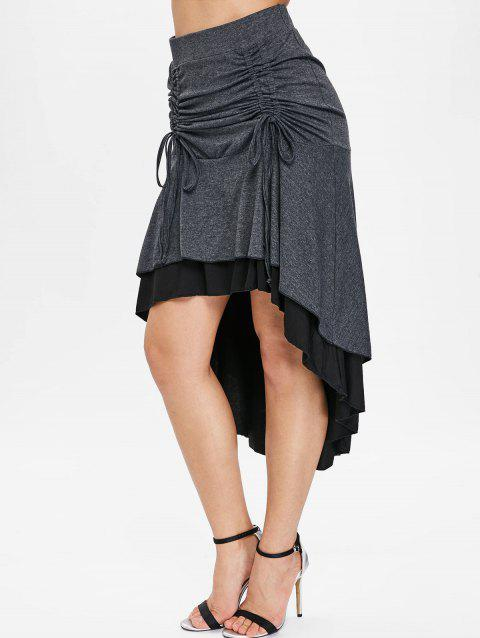 Color Block Tie Ruched Skirt - TAUPE 2XL
