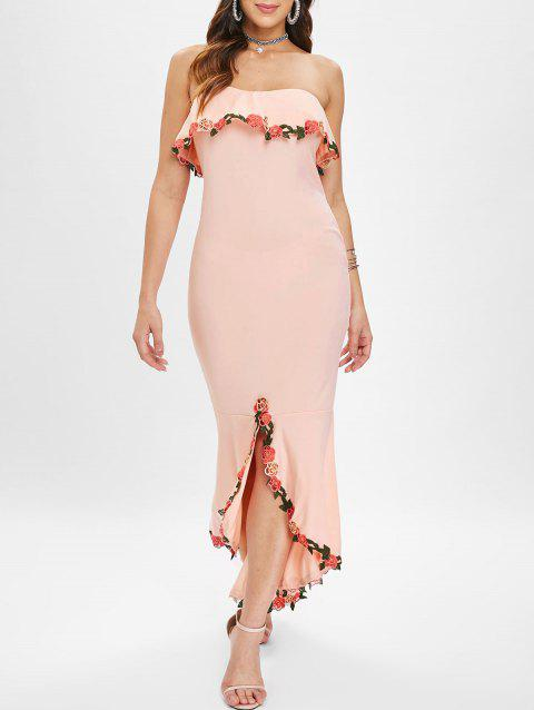 Rose Embroidery Maxi Strapless Fishtail Dress - LIGHT PINK XL