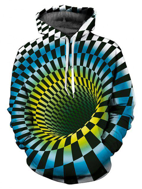 3D Swirl Checked Print Pullover Hoodie - DODGER BLUE L