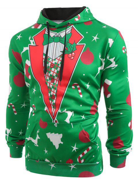 Christmas Patterns Printed Pullover Hoodie - PINE GREEN L