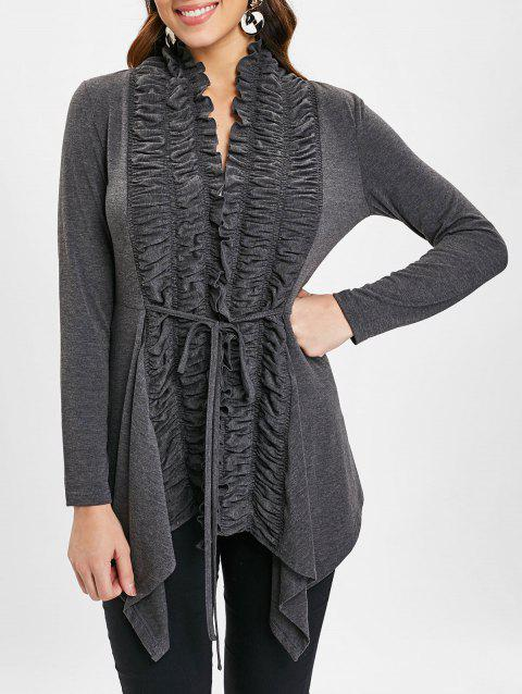 Open Front Ruffles Belted Cardigan - GRAY S