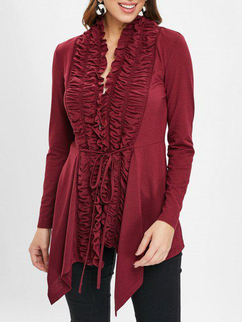 Open Front Ruffles Belted Cardigan