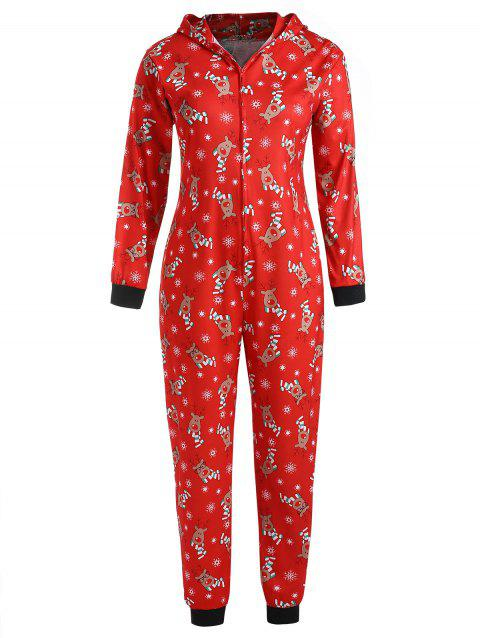 Plus Size Christmas Elk Hooded Jumpsuit Pajama - RED L
