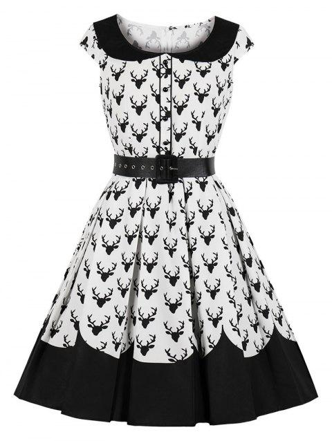 d67ab7461ad3 17% OFF] 2019 Reindeer Print Christmas Dress In BLACK | DressLily