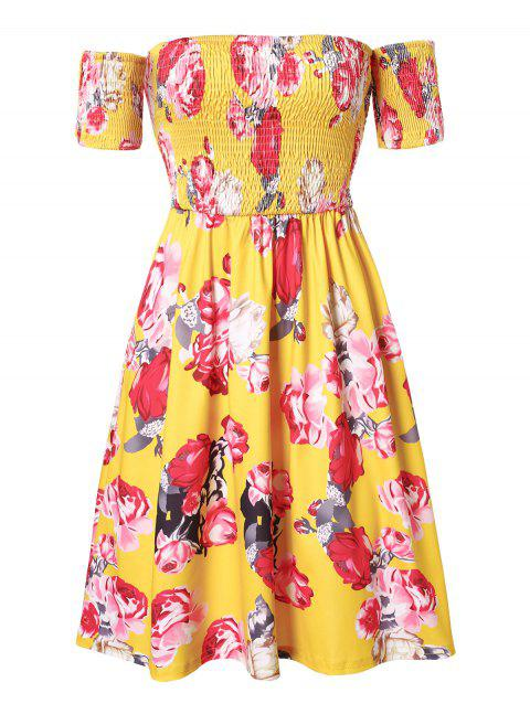 Plus Size Off The Shoulder Smocked Floral Print Dress - SUN YELLOW L