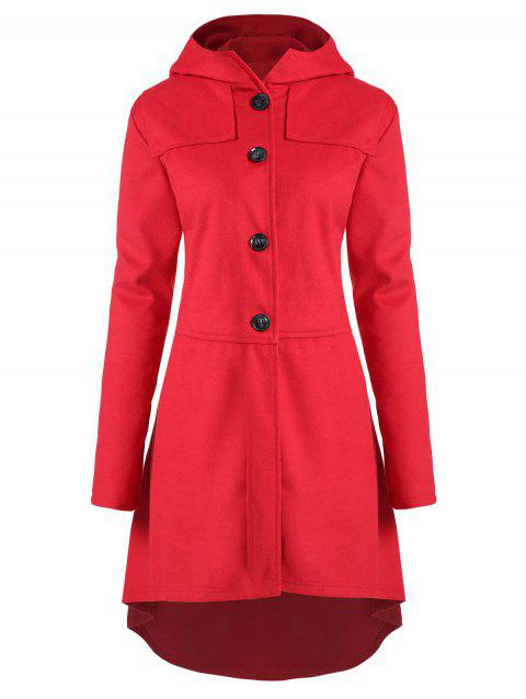 Plus Size Asymmetric Button Fly Hooded Coat - RED 2X