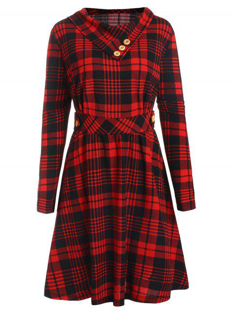 Plus Size High Waisted Plaid Flare Dress - RED 2X