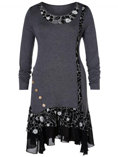 b6c1dbcd4abcb 41% OFF  2019 Plus Size High Low Hem Floral Splicing T-shirt In GRAY ...