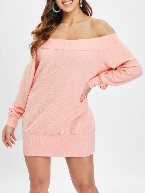 Off The Shoulder Tunic Knitwear - LIGHT PINK XL