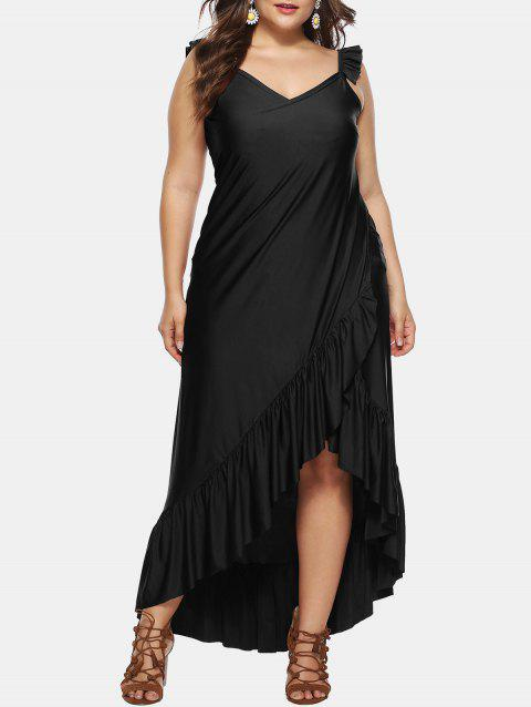 Asymmetric Ruffle Plus Size Wrap Dress - BLACK 4X