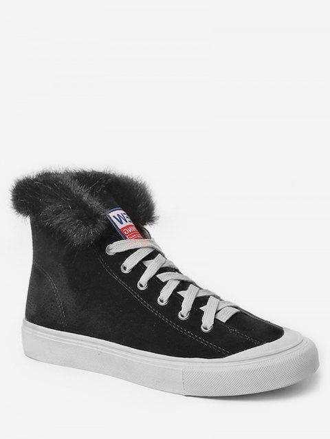 Casual High Top Faux Fur Skate Sneakers - BLACK EU 38
