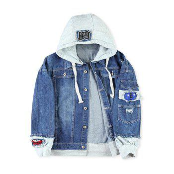 Letter Number Applique Embellished Distressed Hooded Jacket