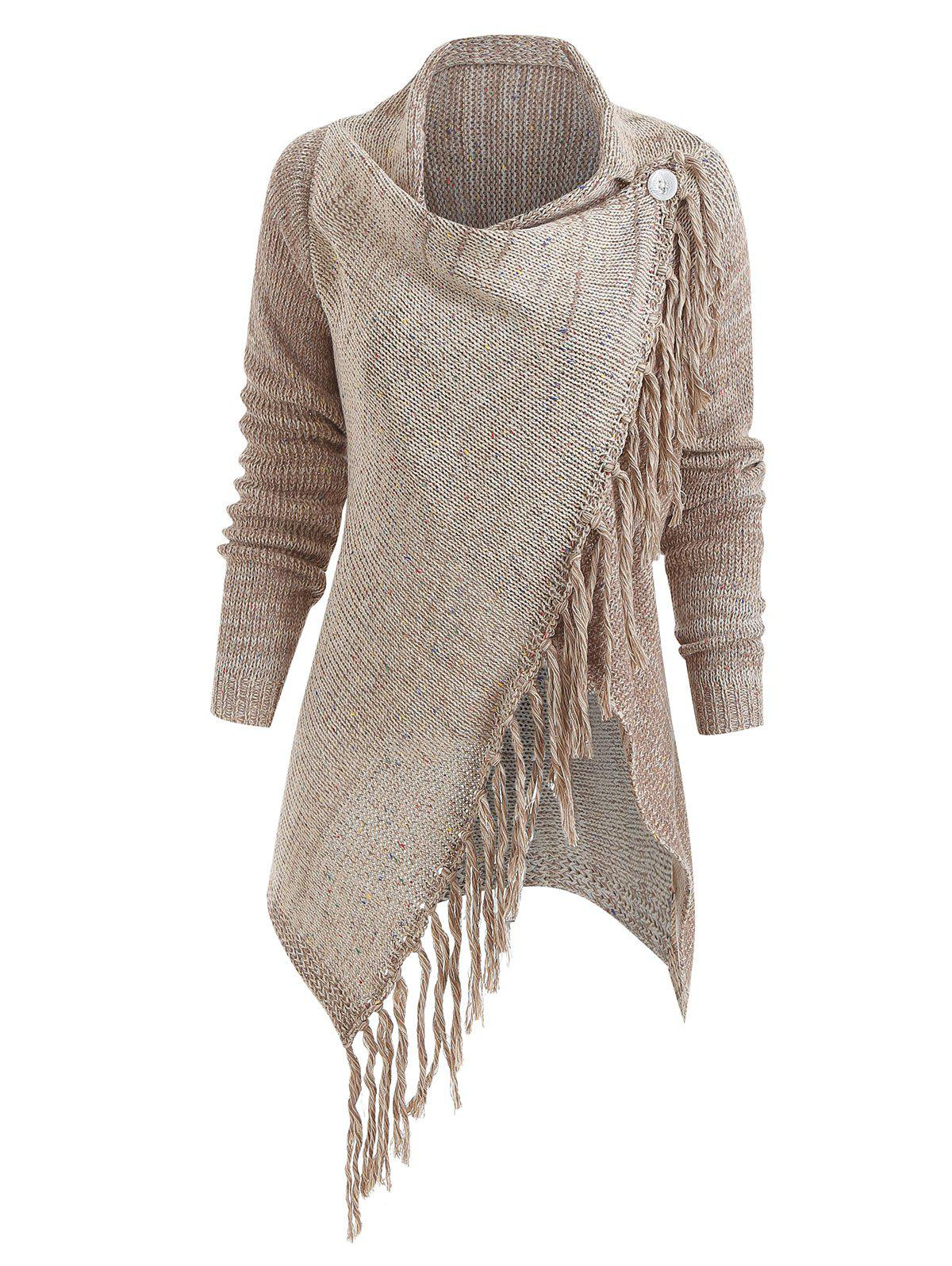 Asymmetrical Fringed Knitted Cardigan - LIGHT KHAKI L