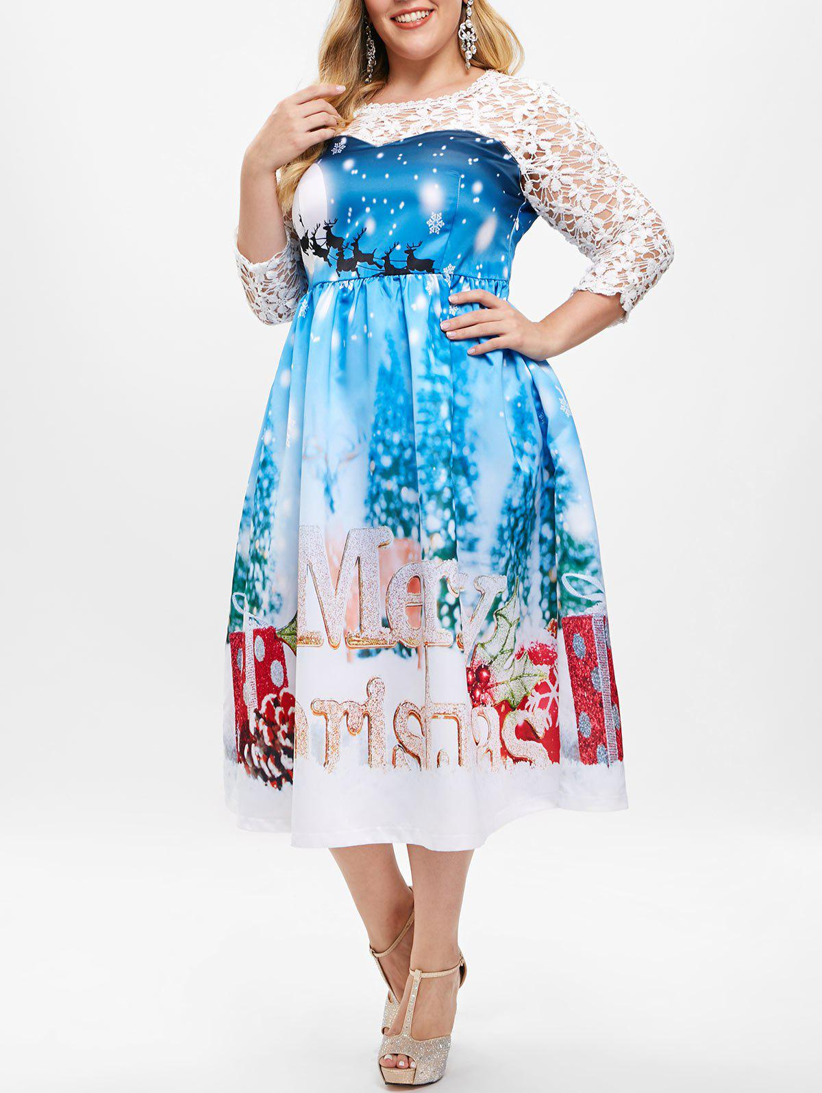 Plus Size Sheer Lace Insert Christmas Print Ball Gown Dress - DEEP SKY BLUE 1X