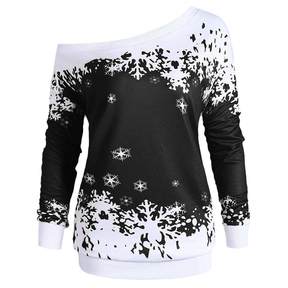 Plus Size Skew Neck Christmas Snowflake Sweatshirt - BLACK 2XL