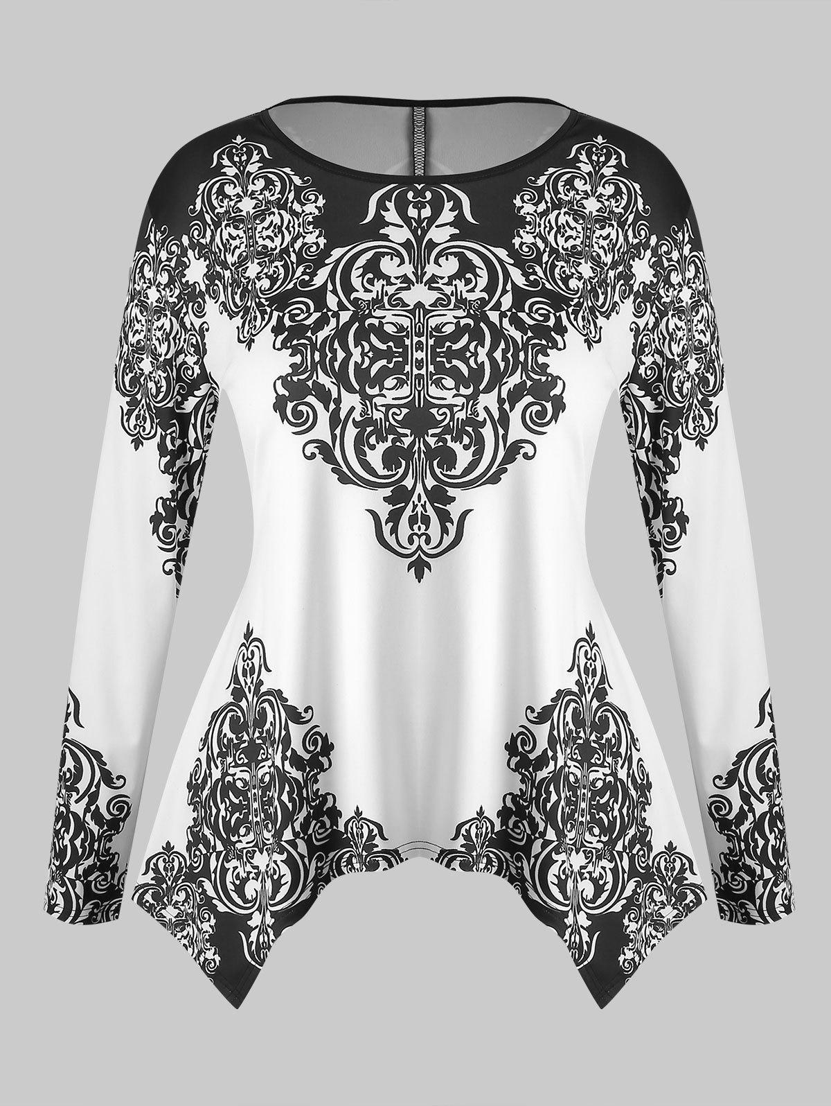 Plus Size Tribal Print Long Sleeves Tee