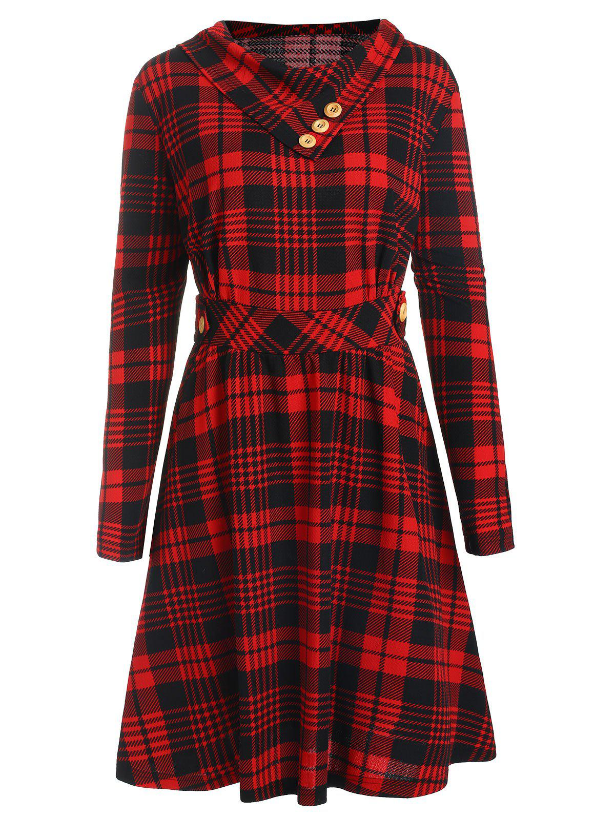 Plus Size High Waisted Plaid Flare Dress - RED 1X