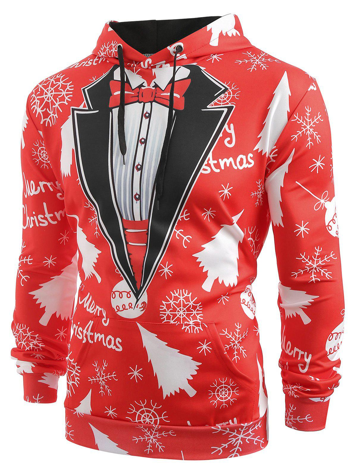 Christmas Baubles Snowflakes Printed Casual Hoodie - CHESTNUT RED XL