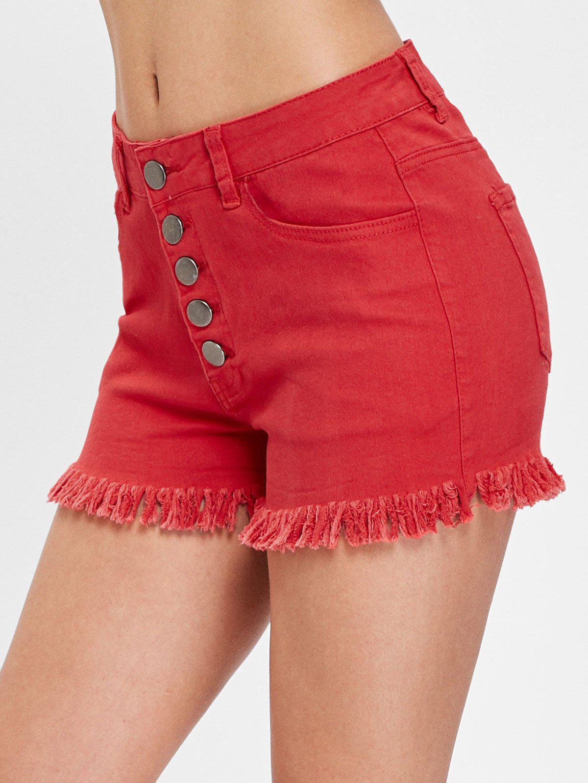 High Waist Cuff Off Denim Shorts - RED S