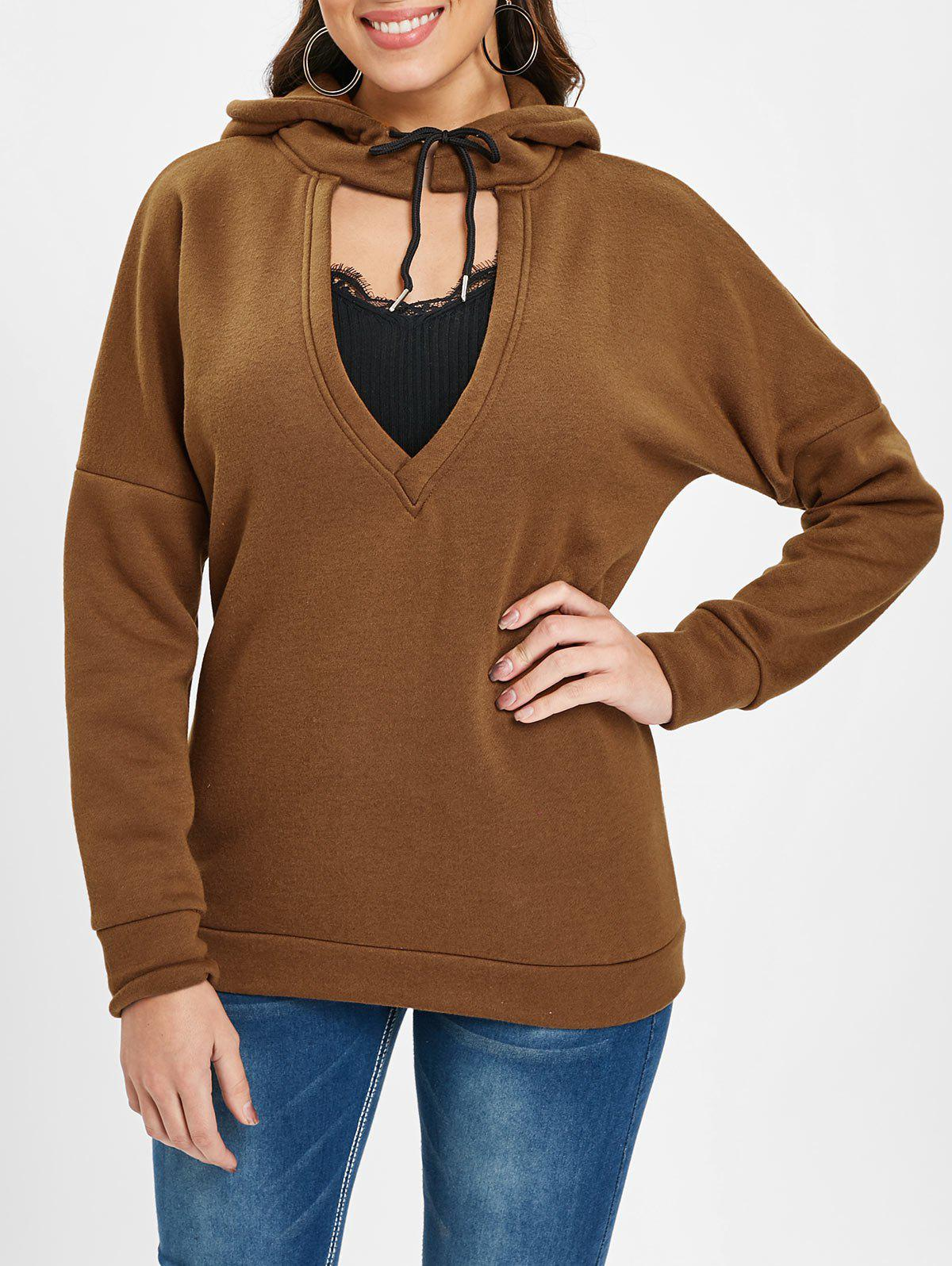 Plunging Neckline Drop Shoulder Hoodie