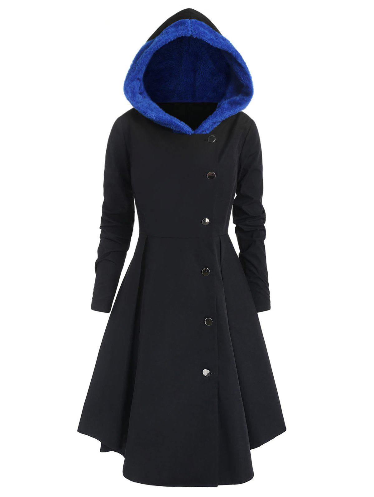 Plus Size Asymmetric Contrast Hooded Skirted Coat - BLACK 2X